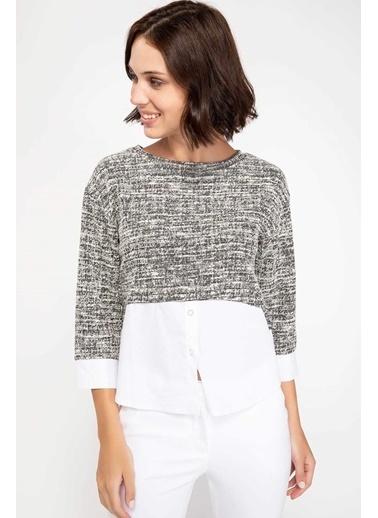 DeFacto Gömlek Detaylı Bluz Gri